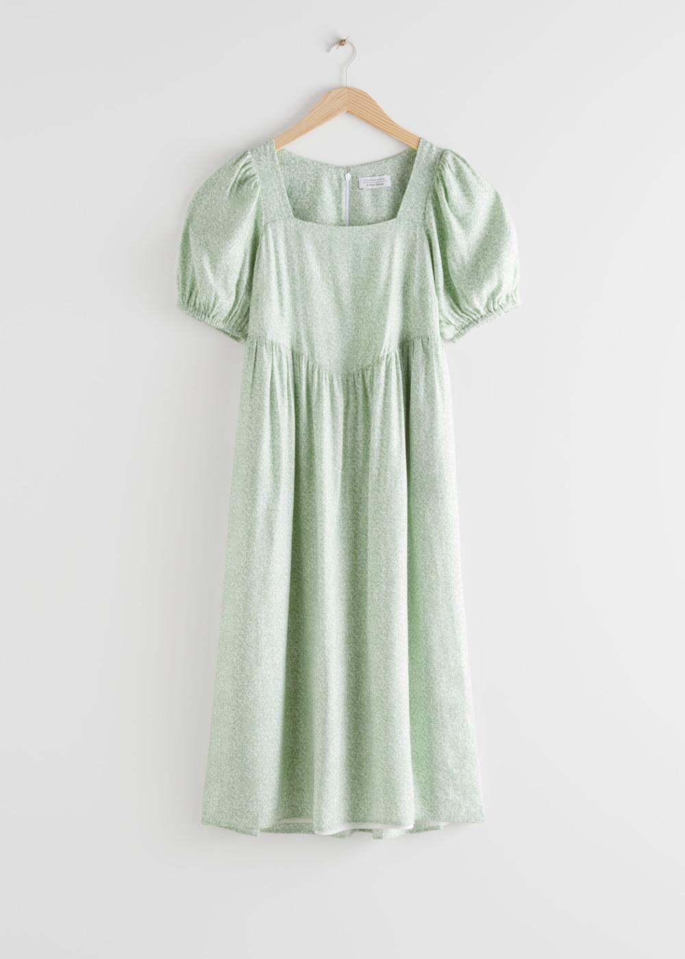 Pdp Puff Sleeve Midi Dresses Fashion Midi Dress [ 1400 x 1000 Pixel ]