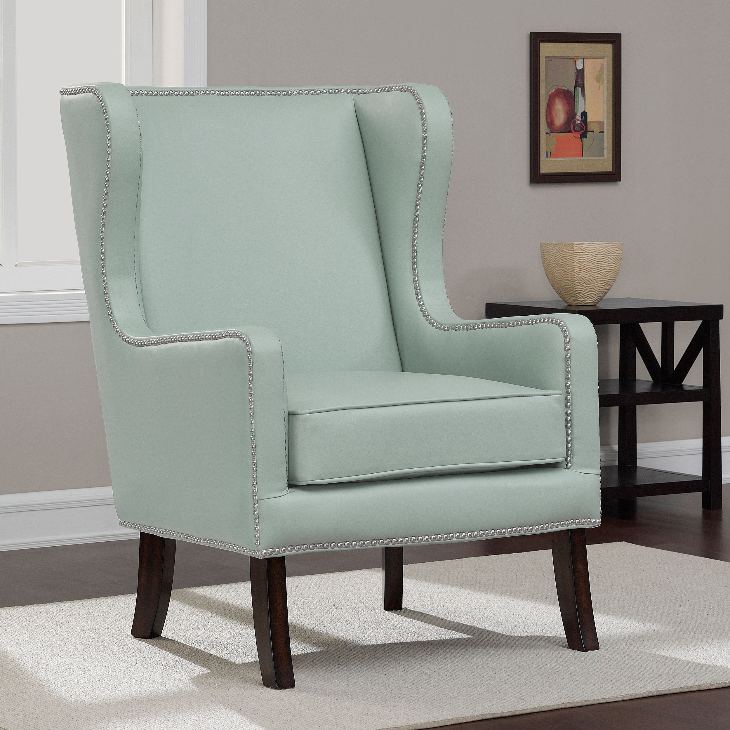 Oversized Aqua Bonded Leather Wing Chair - Overstock Shopping ...