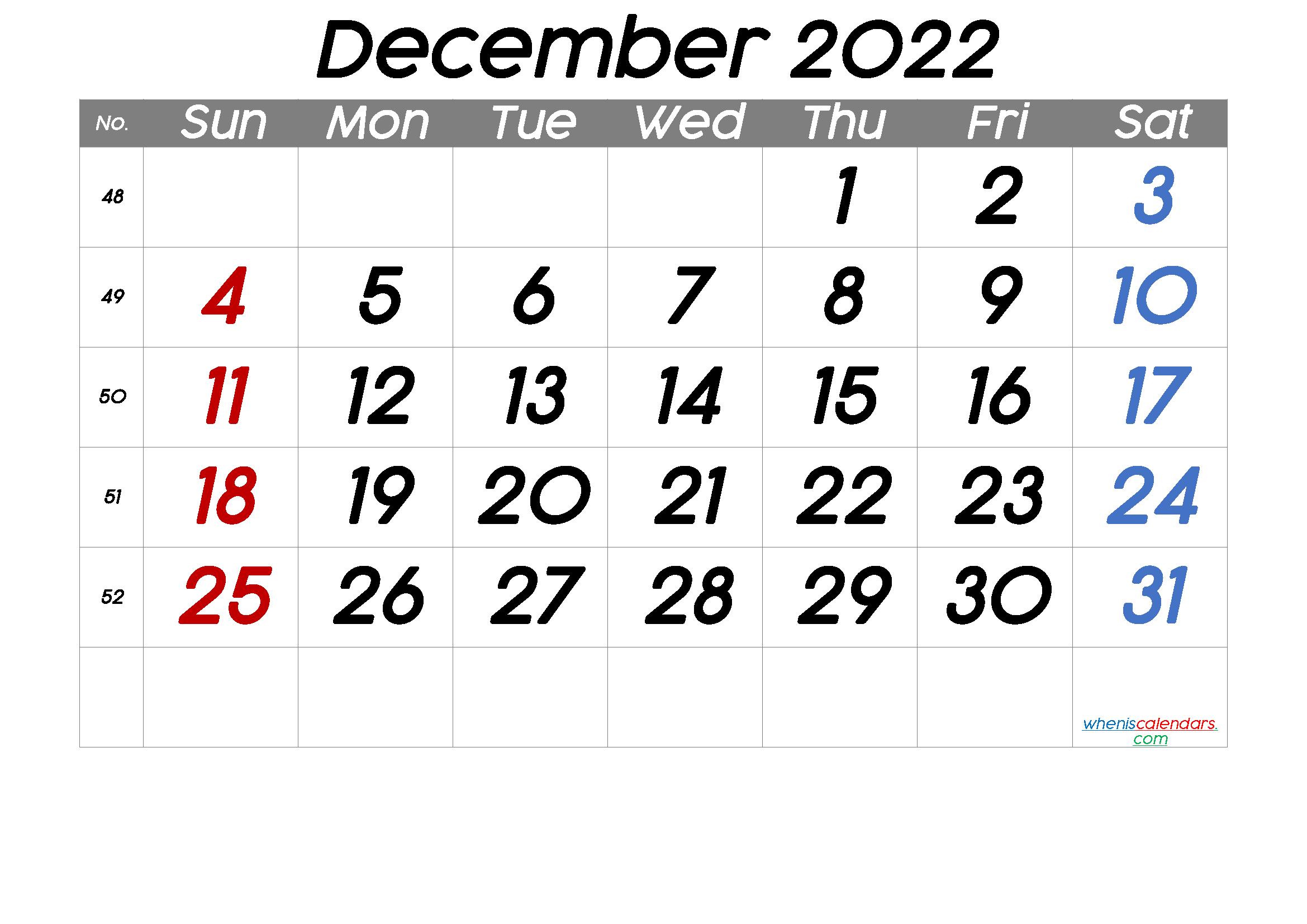 Printable December 2022 Calendar [Free Premium] in 2020