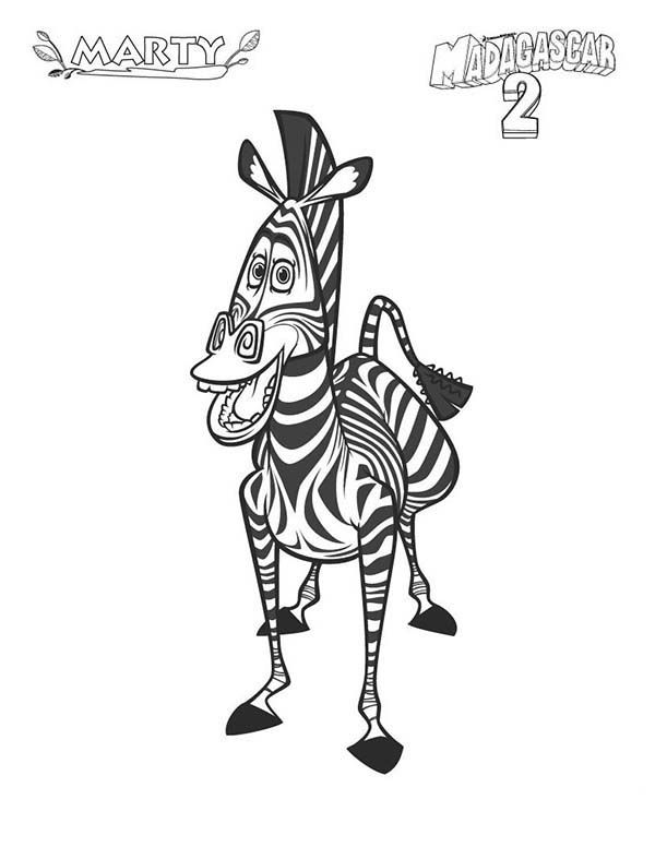 Zebra Marty Of Madagascar In Coloring Page