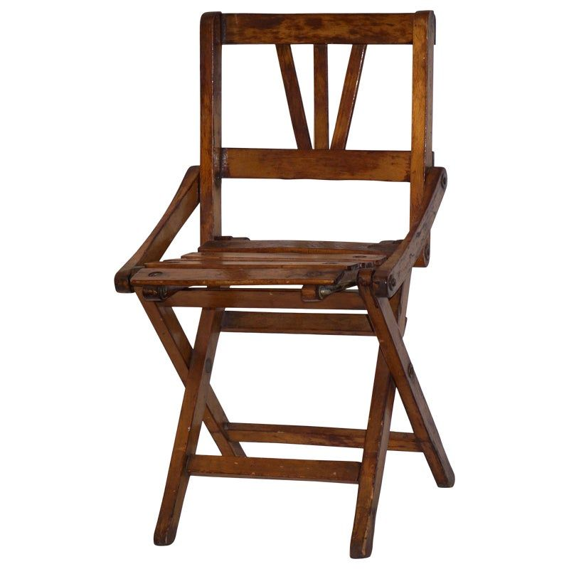 Antique 1950s Italian Handcrafted Oak Doll Miniature Folding Chair Folding Chair Chair Antiques
