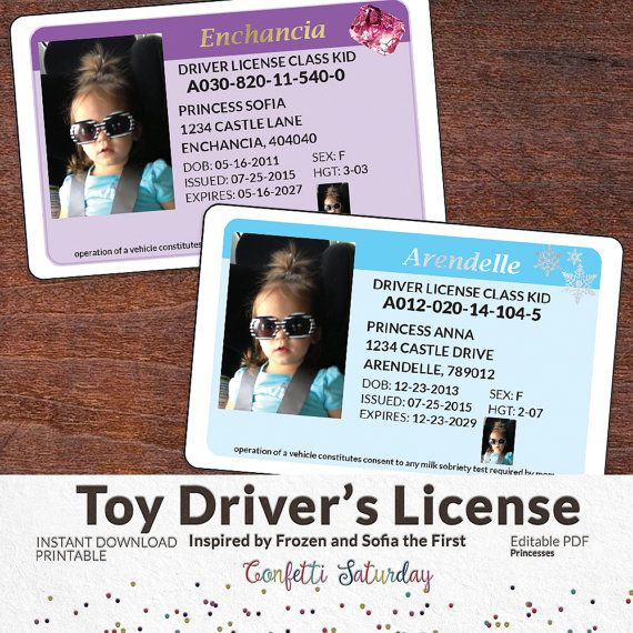Kids Drivers License Pretend Play Imaginary Drivers License