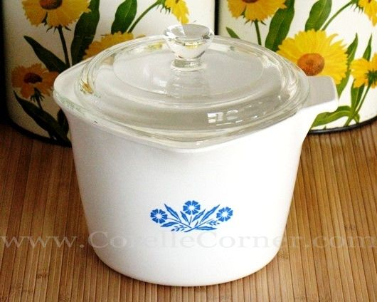 Profile ofCorning Ware Saucemakers. pictured; Blue Cornflower 1 Qt Saucemaker