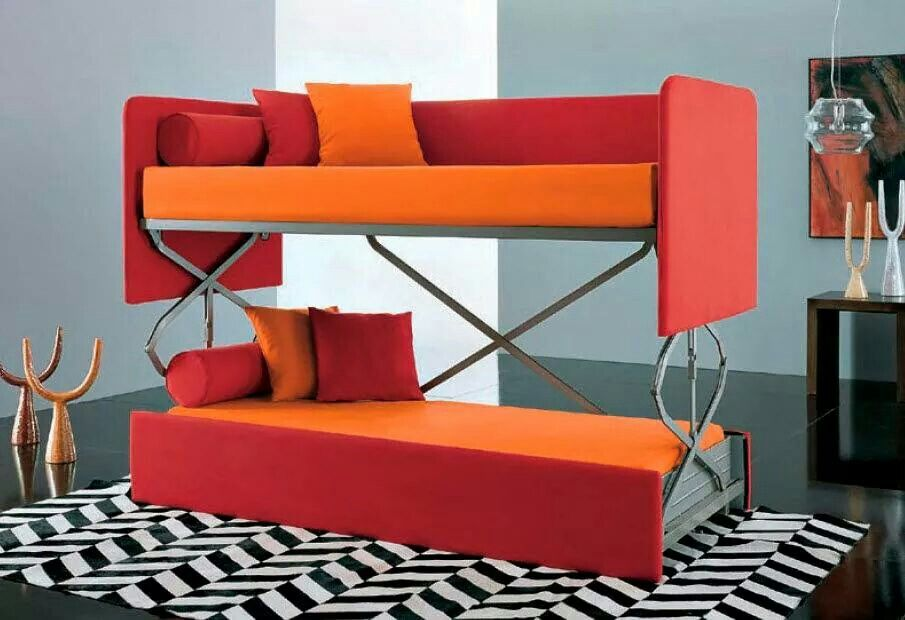 Orange Sofa Transformed To Bunk Bed Bed Room Couch Bunk Beds