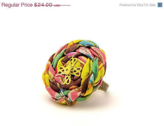 SUMMER SALE Colorful fabric ring - adjustable textile spiral ring - statement ring - gift for her