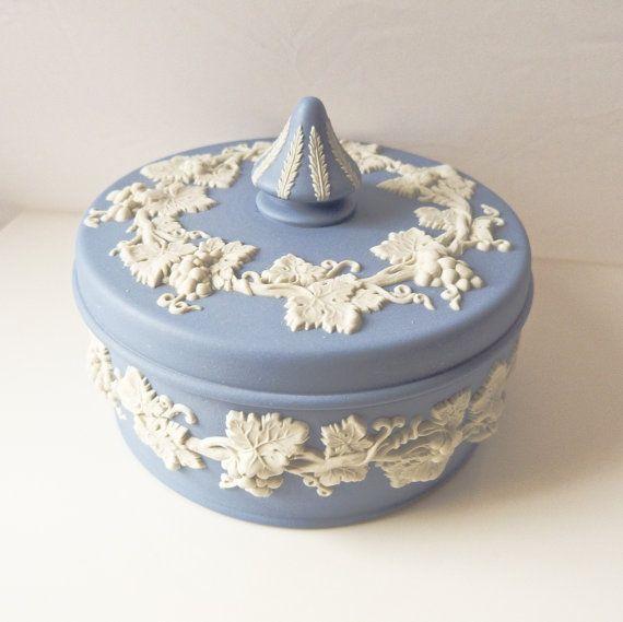 Wedgwood blue Jasperware box with Grapes