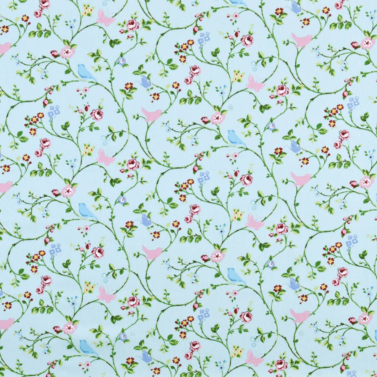 Bird Trail Curtain Fabric Seafoam | Printed Fabric in Pink | UK ...