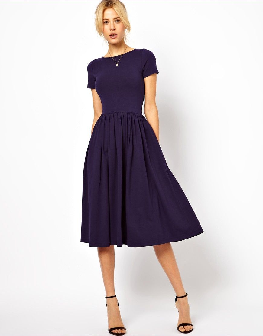 asos midi dress with short sleeves. at asos | modest