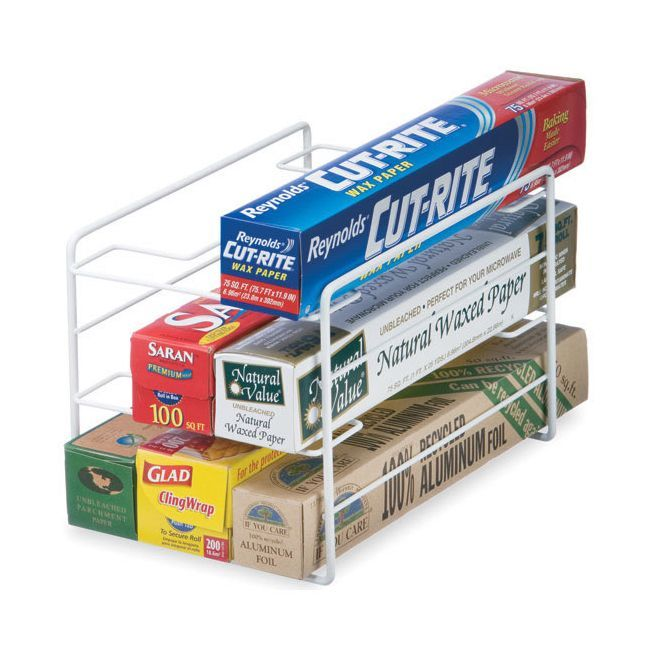 The Organized Living Kitchen Wrap Organizer is the perfect storage solution for your plastic wrap, food storage bags, tin foil, and wax paper. This Kitchen organizer fits easily on your cabinet or pantry shelf and highlights a white finish.
