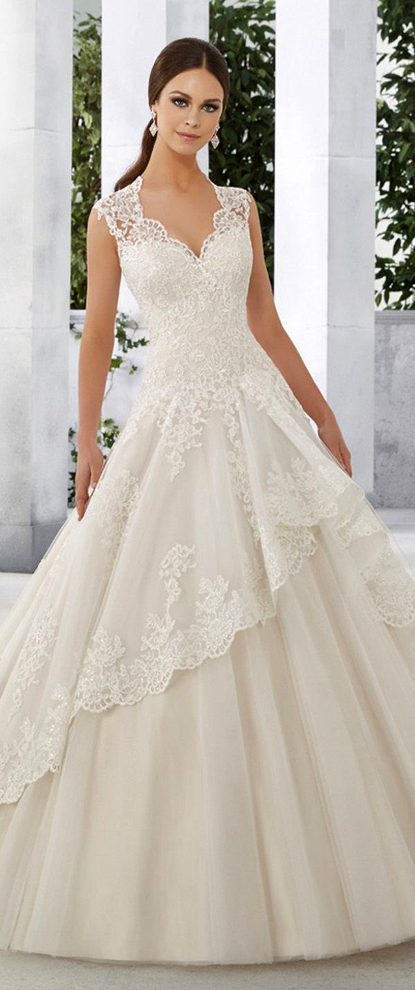Junousque tulle u satin vneck aline wedding dresses with sequined