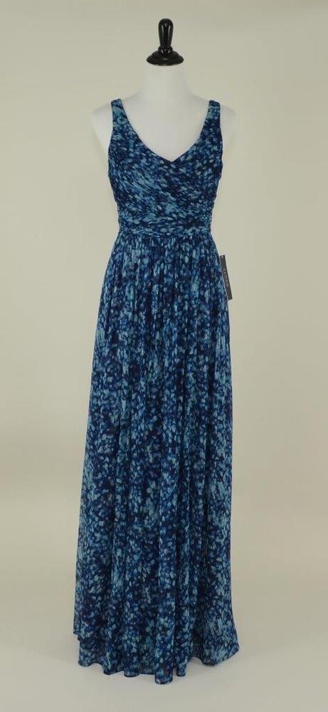 J. crew $298 silk chiffon watercolor heidi gown 8 royal shadow long ...