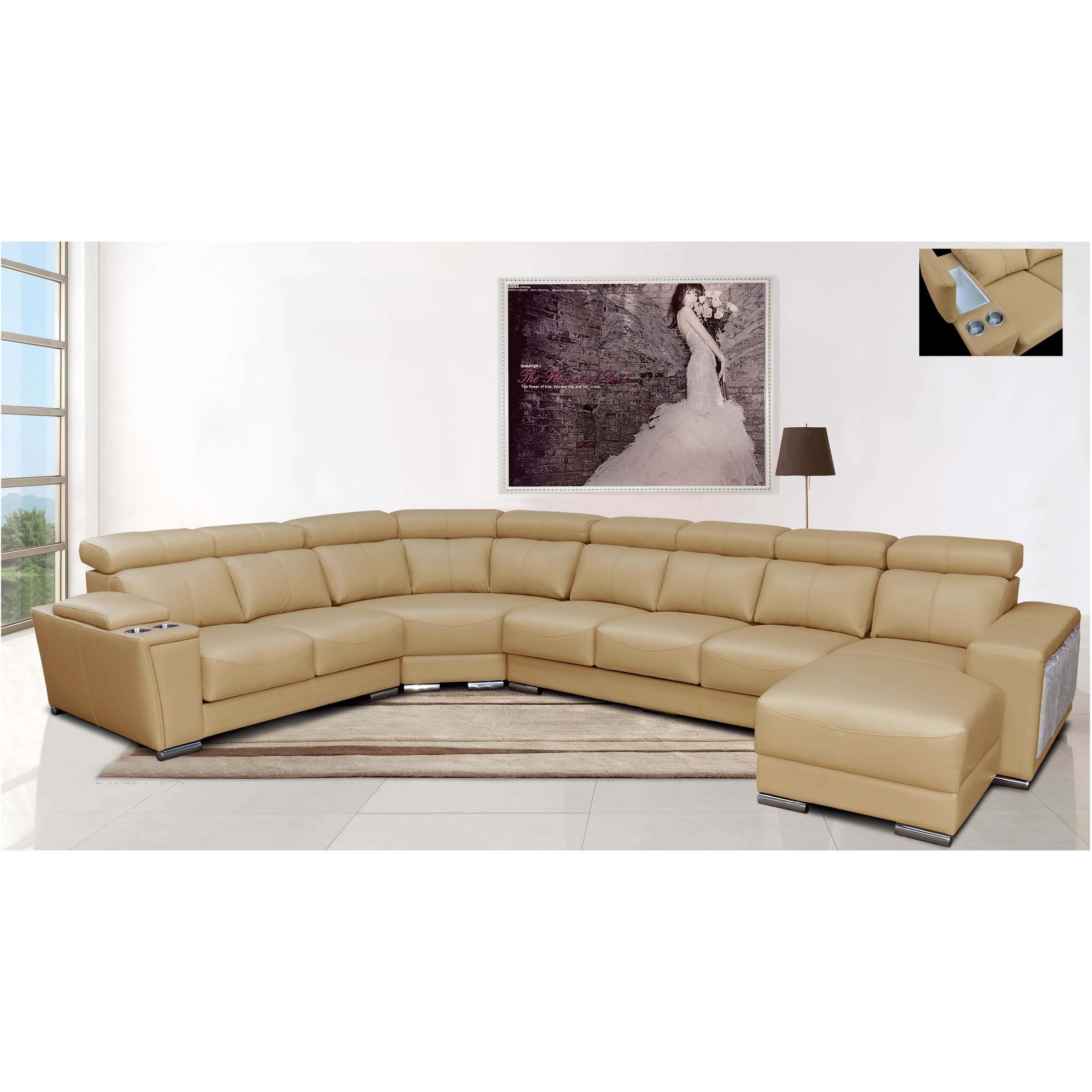 Luca Home Rsf Beige Sectional With Ottomans Rsf Beige Sectional W  # Muebles Seccionales En Miami