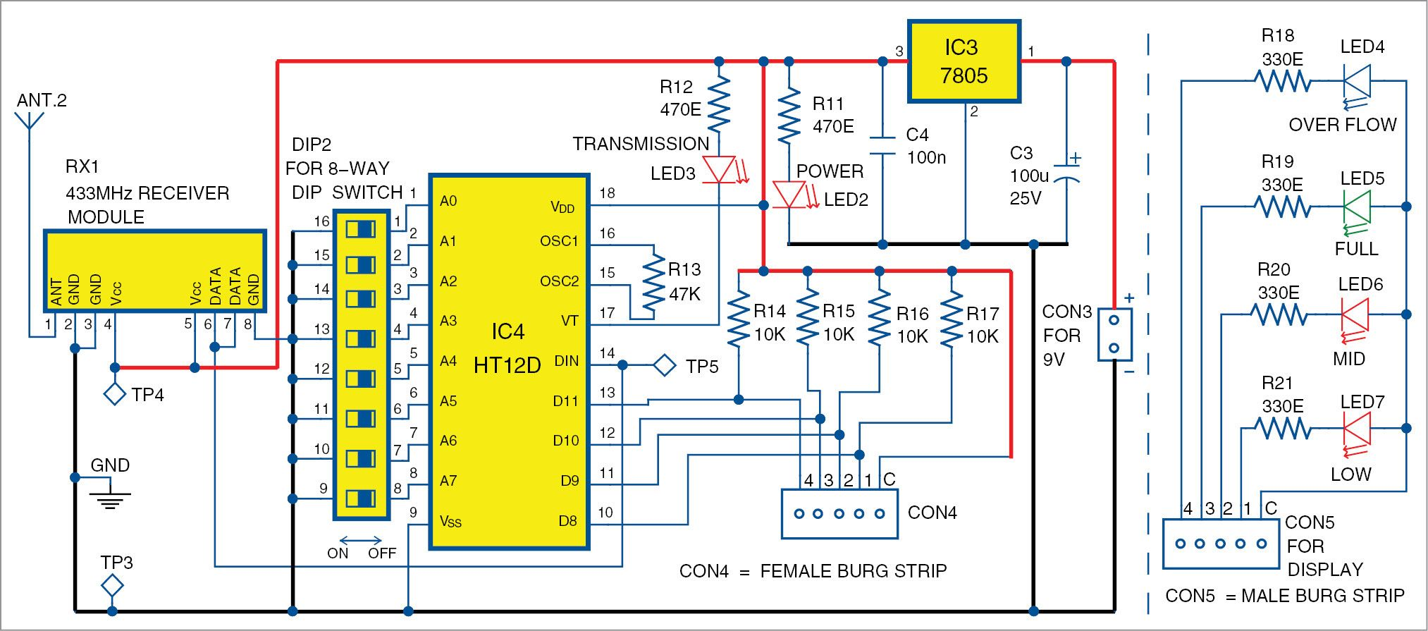 hight resolution of wireless water level indicator circuit receiver unit