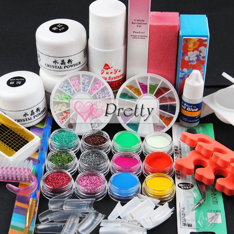 Uk Pro Acrylic Powder Glitter 75ml Liquid Nail Art Kit Block Brush