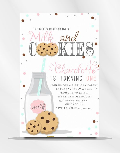 Milk And Cookies Birthday Invitation Chocolate Chips Glass Of Kids