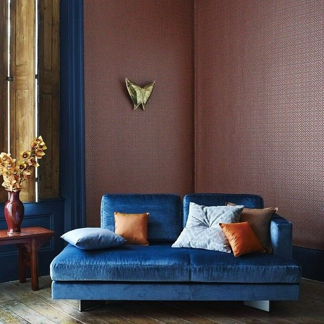"""'Indra' - fretwork inspired design flanks the walls in this shot. Indra is sold by the roll 52cm, 10m long. Our beautiful Ciel #chaise is one from our…"""