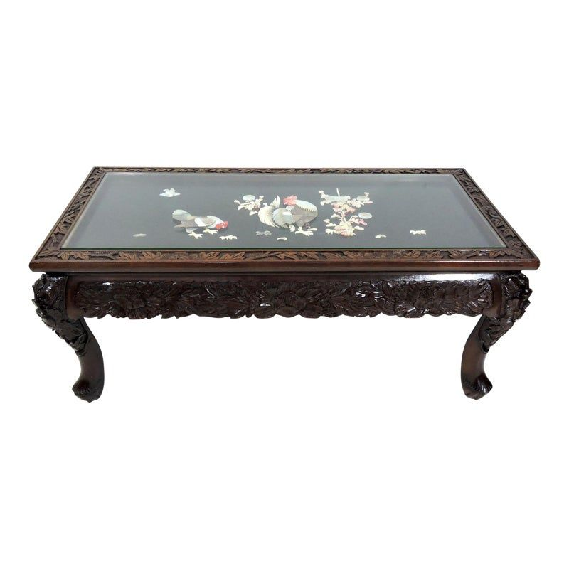 Vintage Japanese Lord Co Inlaid Rosewood Coffee Table Glass Top Yokohama Japan In 2020 Coffee Table Japanese Coffee Table Glass Top