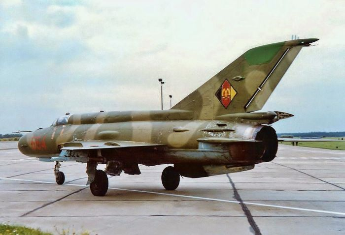 A GDR MiG-21MF of JG1 at Holzdorf on September 26th, 1990