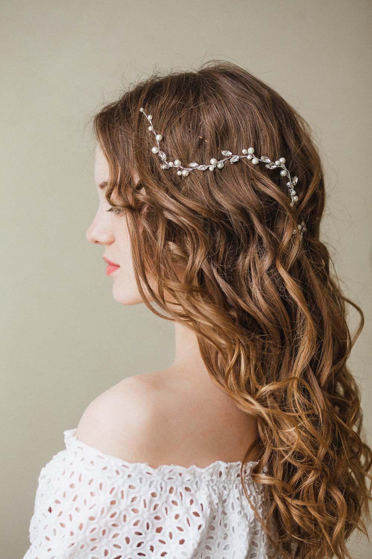Bride hair piece elegant headpiece pearl hair vine bridal