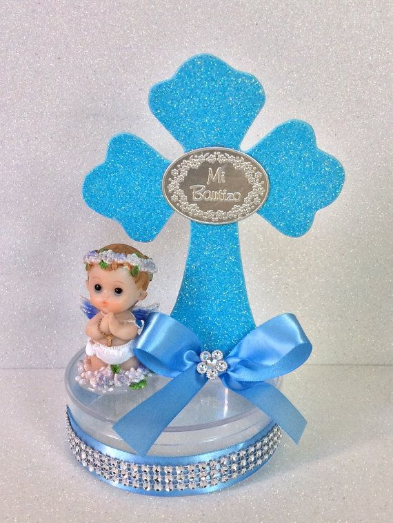 Boy baptism centerpieces by