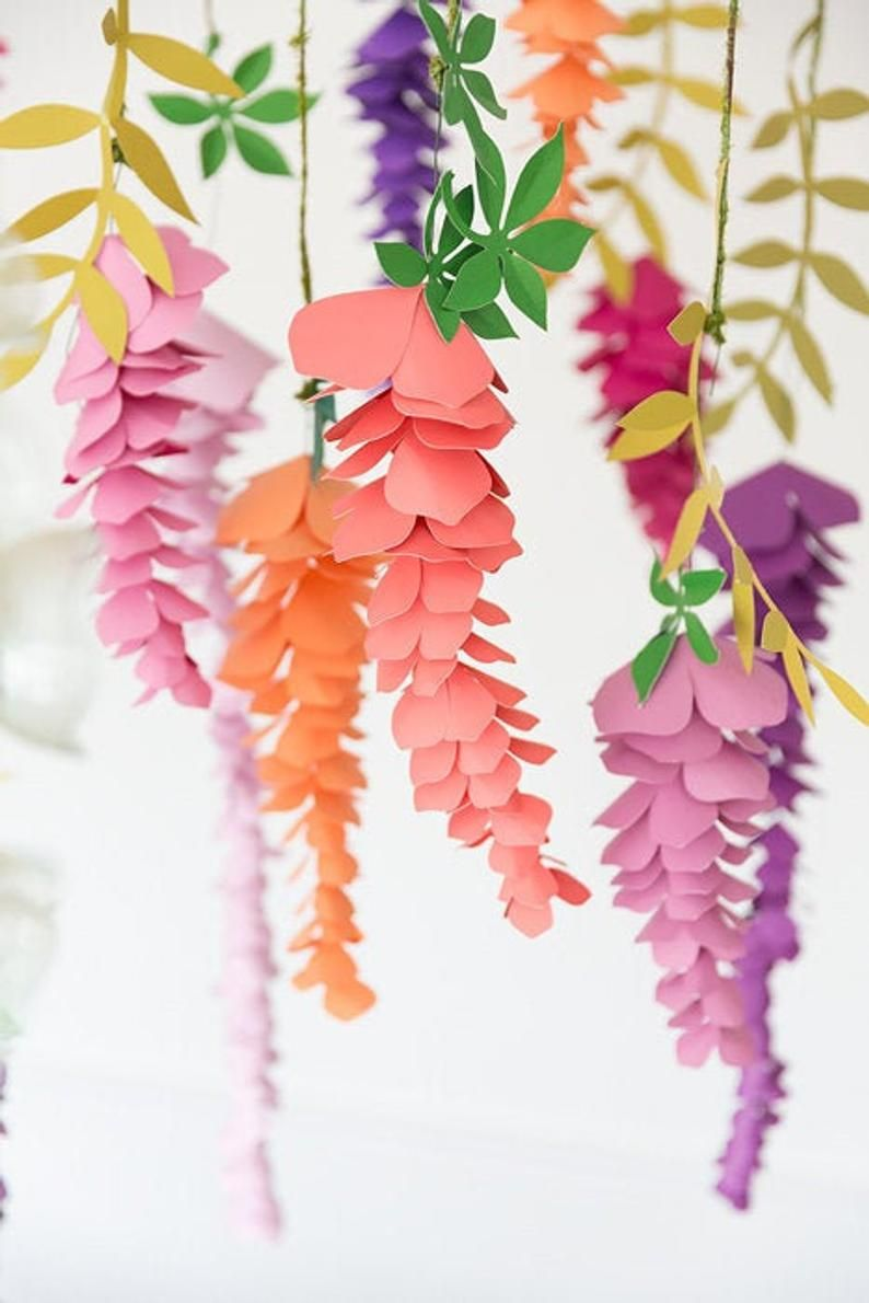 Diy Paper Wisteria Flower Template And Tutorial Birthday Etsy In 2020 Flower Template Paper Flowers Paper Origami Flowers