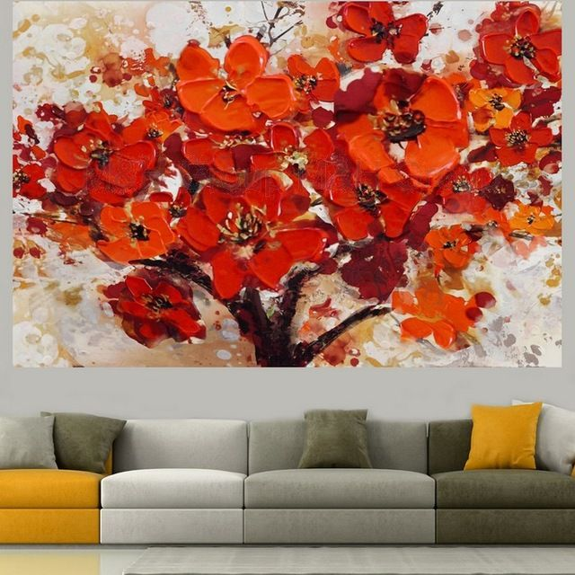 Handpainted Modern Abstract Decorative Red Flower Oil Painting On Canvas Wall Art Paint For