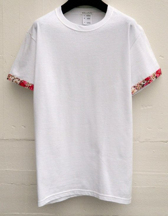 5326d418a66b0a Sleeves Pattern T-Shirts, Men's Floral Sleeves Pattern, White T ...