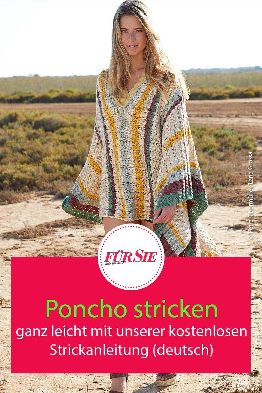Photo of Poncho mit unserer kostenlosen Strickanleitung in deutscher Sprache stricken