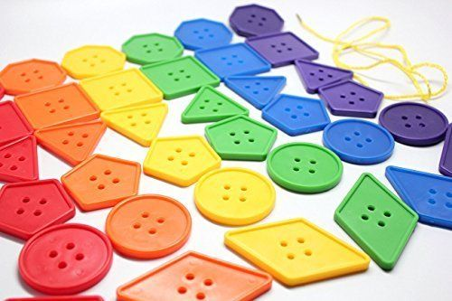 Jumbo Lacing Buttons Busy Bag - Perfect fine motor learning activity for toddlers and preschoolers. Sort by shape and color. Travel activity, http://www.amazon.com/dp/B00Y7IVNLQ/ref=cm_sw_r_pi_awdm_GeASwb0JAEZCP