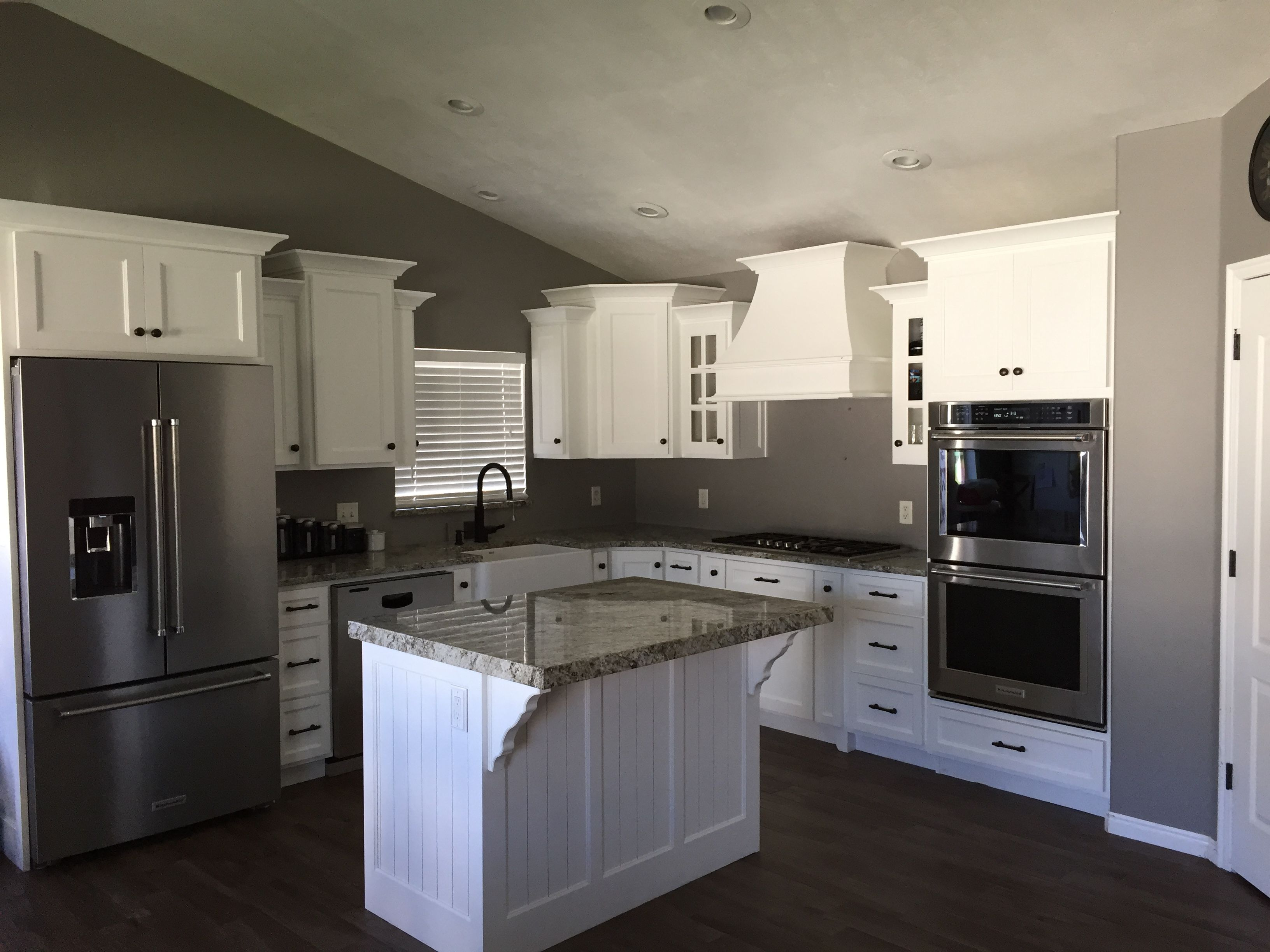Grey Walls With White Kitchen Cabinets And Oil Rubbed Bronze