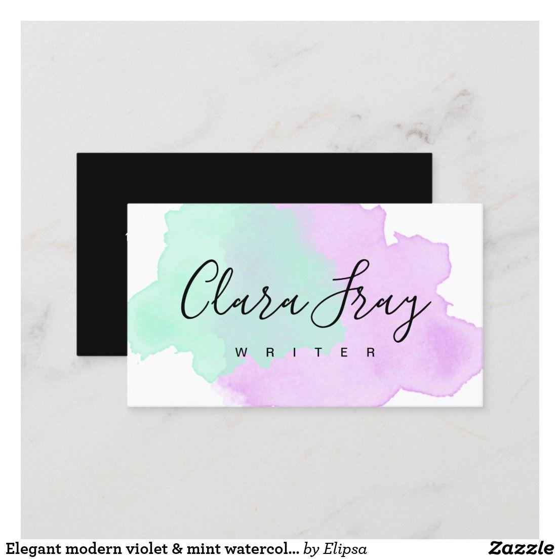 elegant modern violet  mint watercolor writer business
