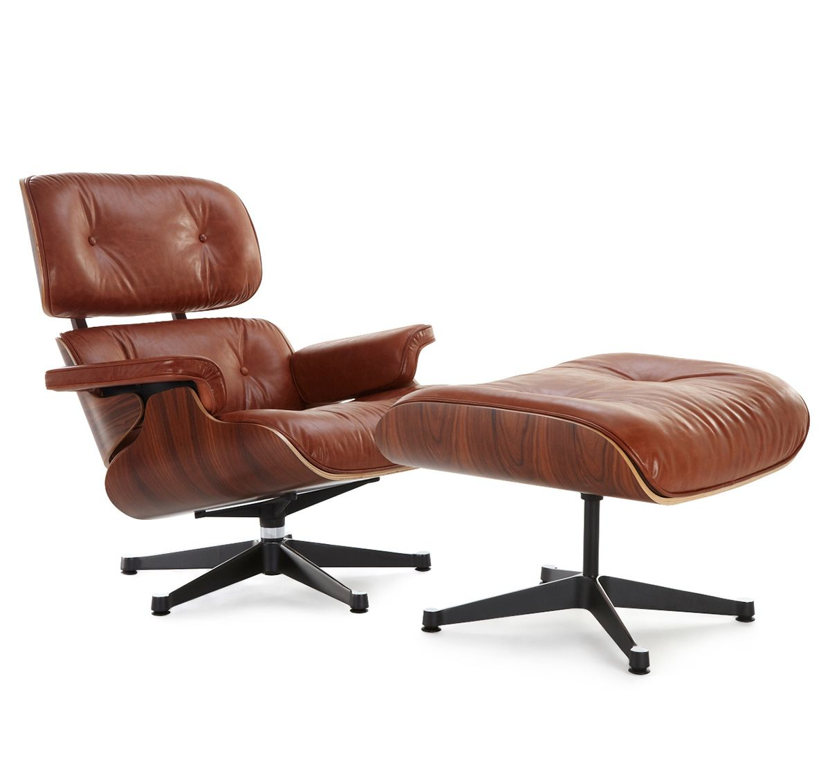 Classic Lounge Chair & Ottoman Antique Brown Chair