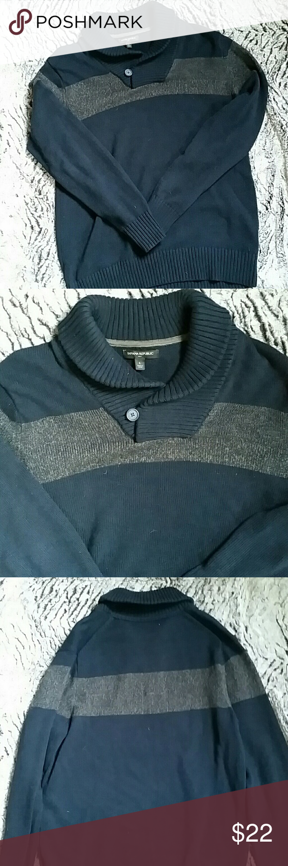 Men's Banana Republic Sweater Blue and grayish brown cowl V neck ...