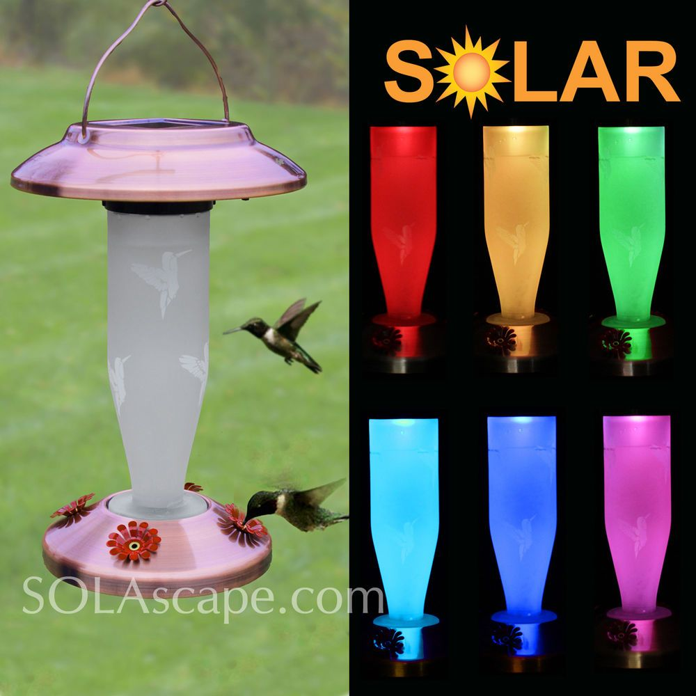 Solar Powered Color-Changing Glass Hummingbird Feeder - Copper Finish - New!