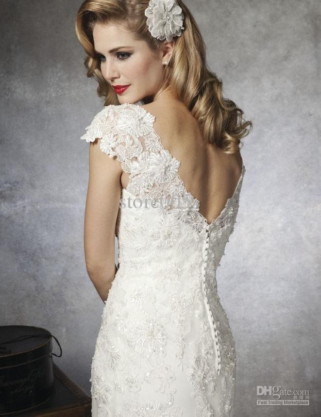 2016 Ivory Vintage Wedding Dresses Cap Sleeve Scoop Lace Mermaid ...