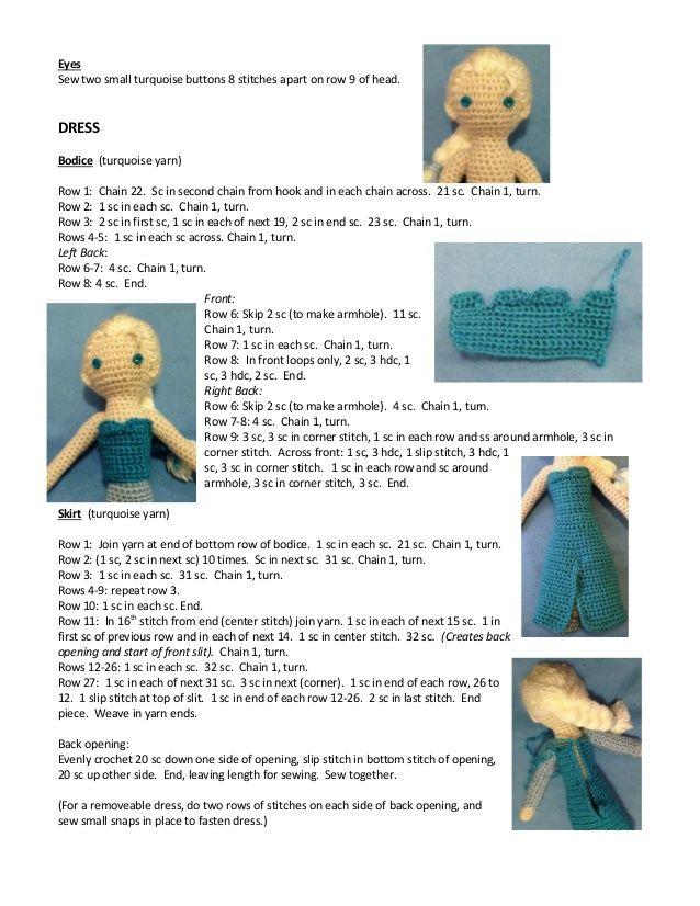 Frozen. Elsa crocheted doll pattern … | frozen | Pinte…