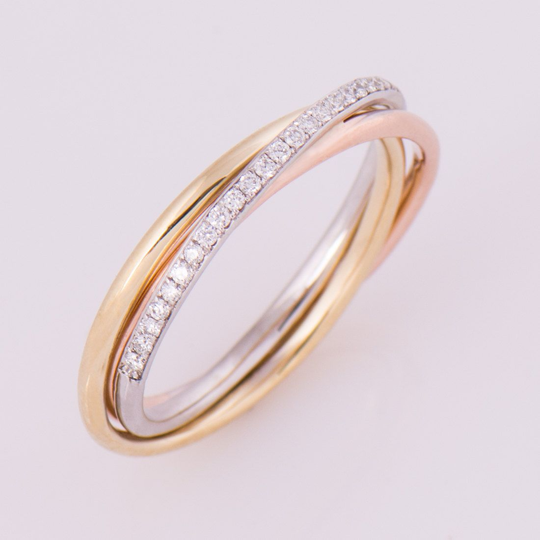 three tone ring 18k gold and diamonds band anniversary ring wedding ring - Three Band Wedding Ring