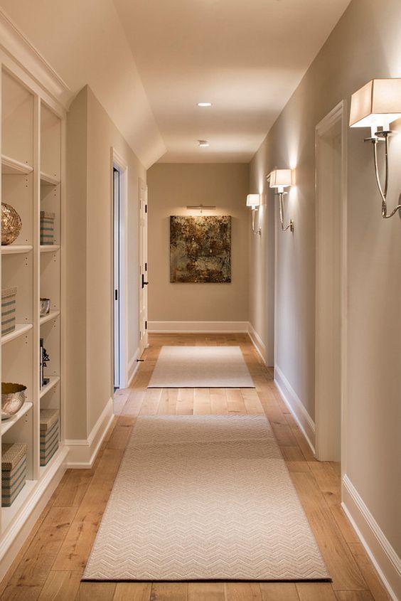 This wall color is Benjamin Moore Alaskan Skies Hendel Homes. Vivid Interior  Design  Danielle Loven Love the built in shelf in the hallway .