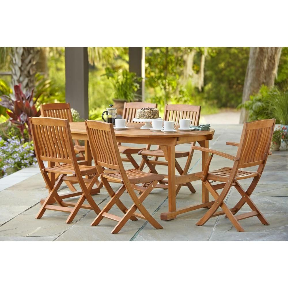 Hampton Bay Adelaide Eucalyptus 7-piece Patio Dining Set
