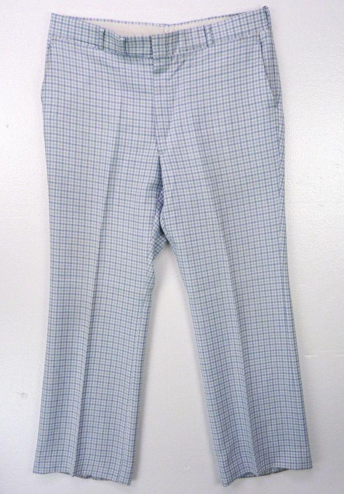 5aa501d9f21d Vintage 70s Light Blue Denim PLAID Old Man Slacks Prep Ugly Golf Pants  38x32  Unbranded