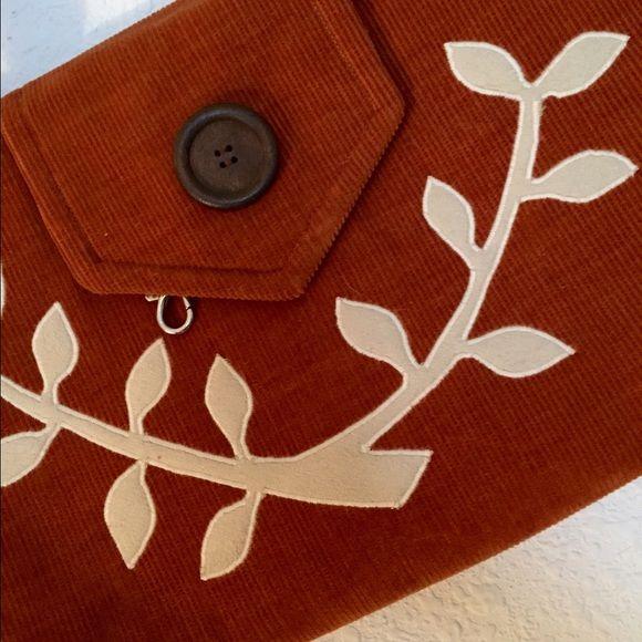 Orange purse Corduroy material. Deep orange color. Adorable inside lining. Never used. Pesky cat designs Bags