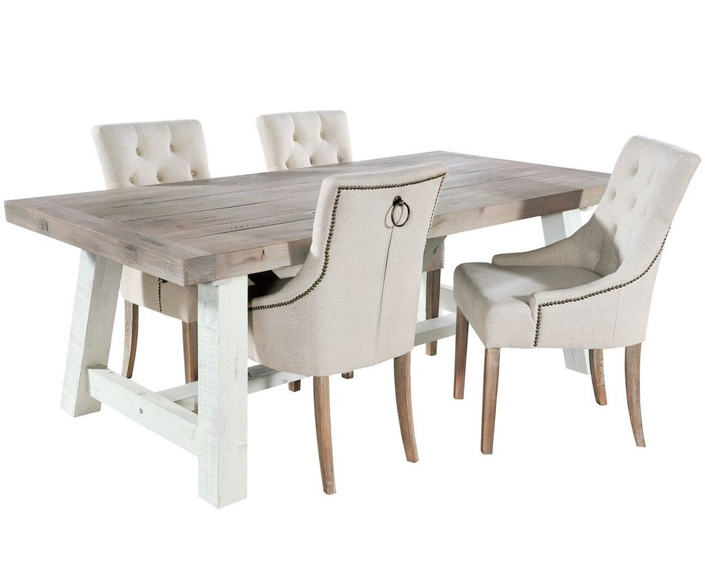 Dorset Reclaimed Wood Extendable Trestle Table And Cream Chairs