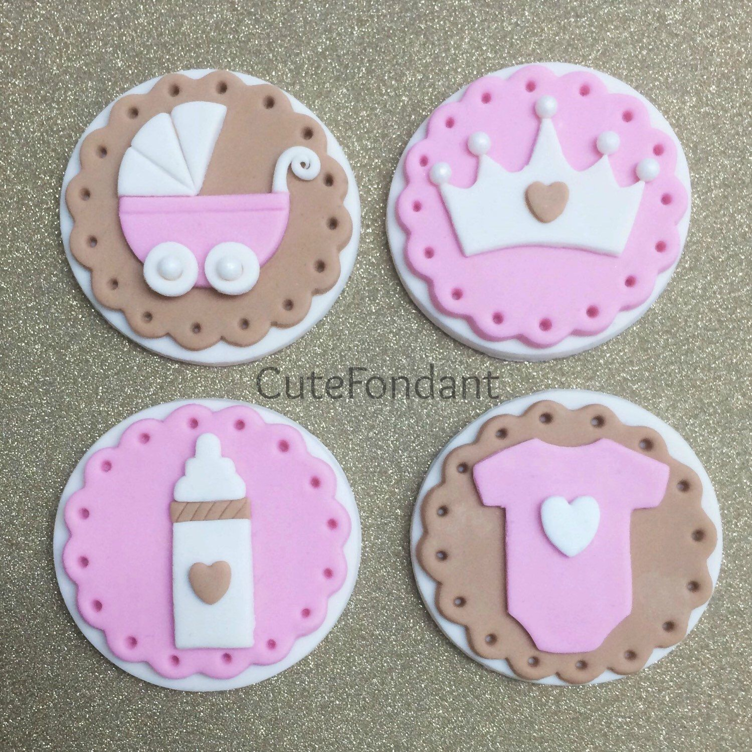 NEW Baby girl fondant cupcake toppers! Baby Shower Cupcake Toppers, Baby  Shower Cupcakes For