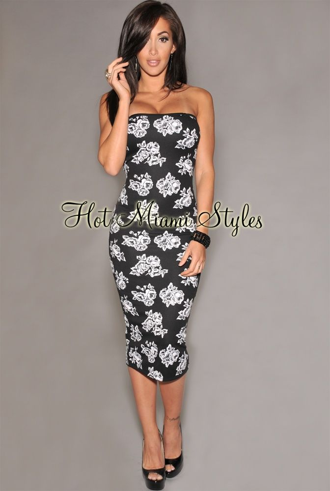 6894305f071 Black White Floral Print Strapless Midi Dress in 2019