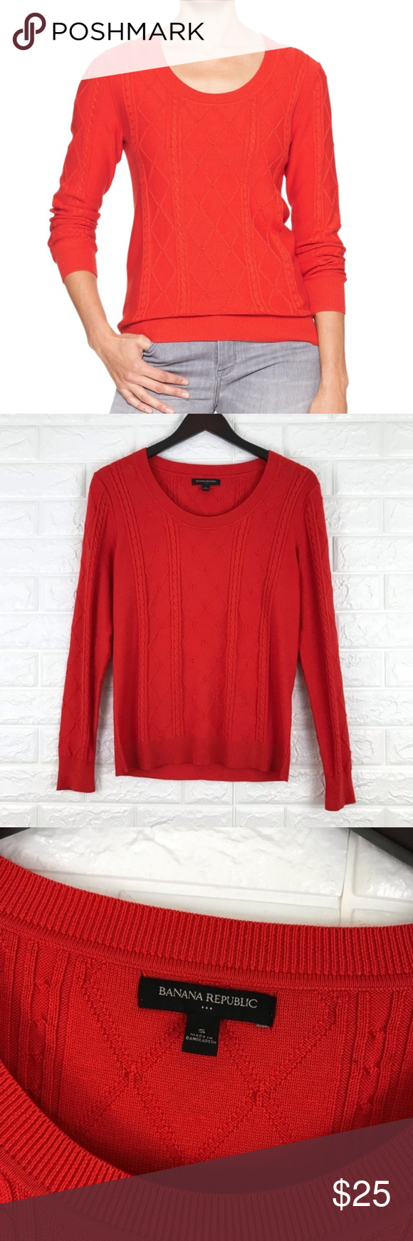 Banana Republic Factory Red Crewneck Sweater Small Long