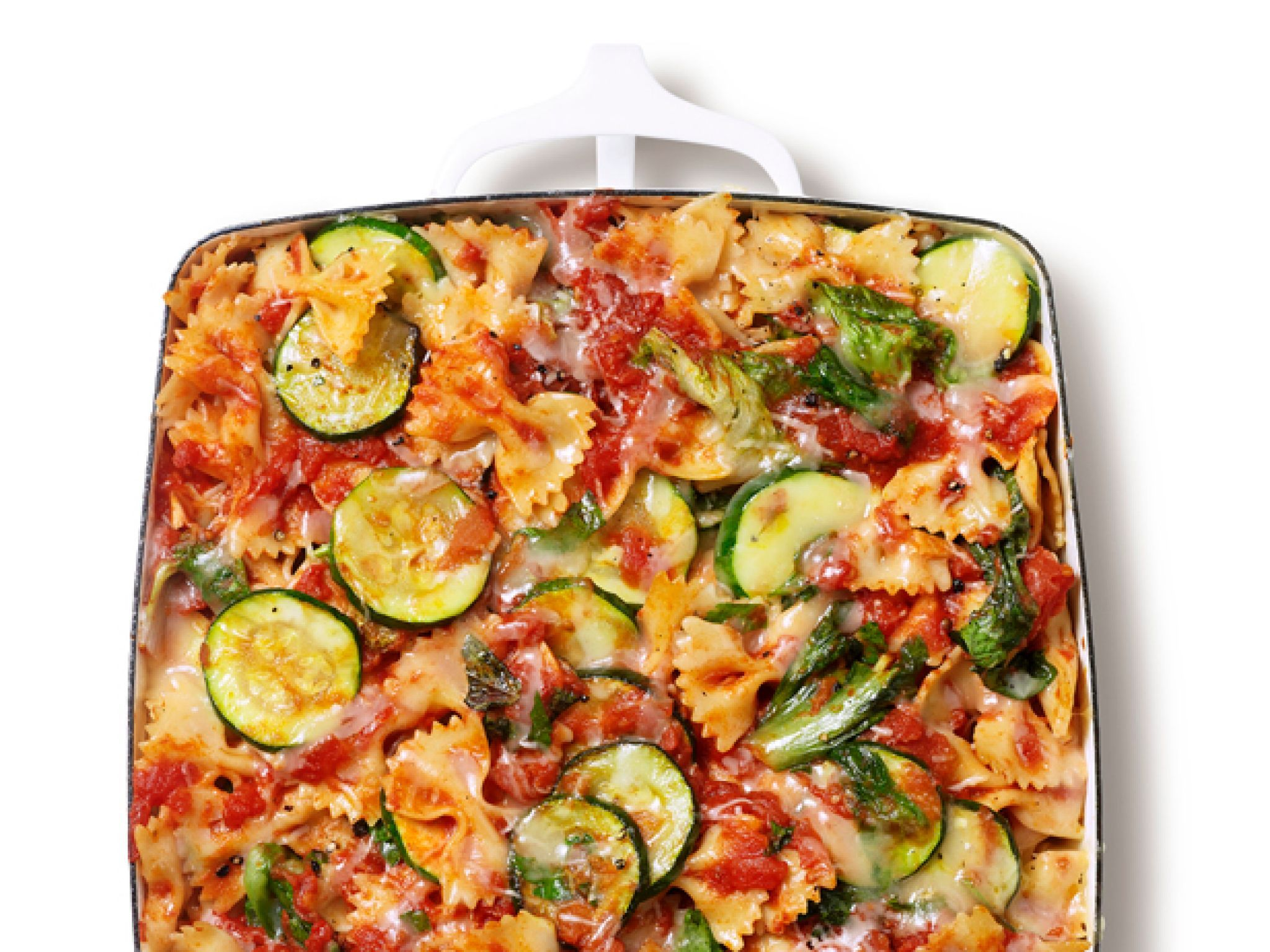 Baked farfalle with escarole and zucchini recipe food