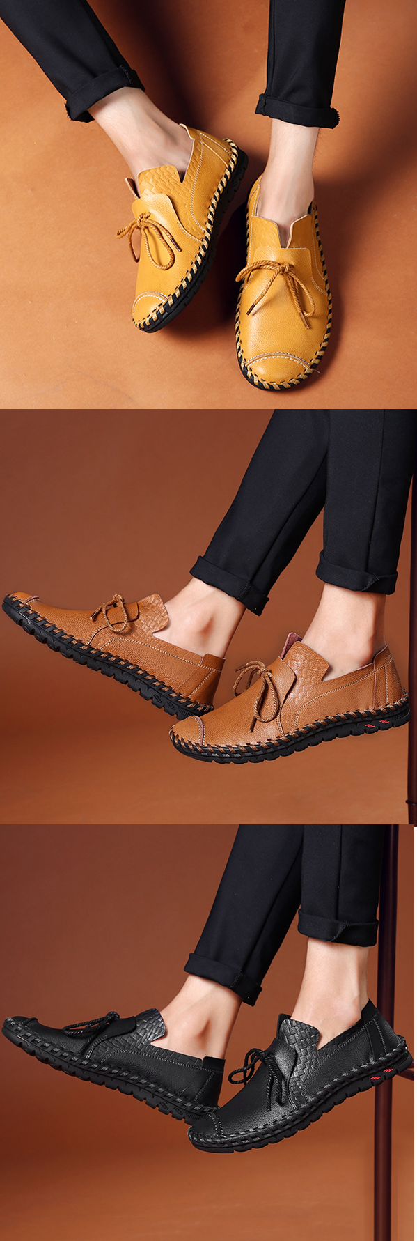US$39.98 Men's Stitching Soft Sole Lace Up Decoration Casual Driving Loafers