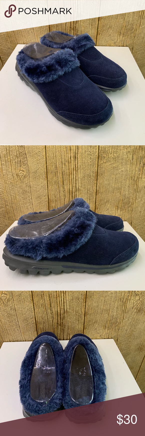 Skechers fur lined go Walk mules,shoes