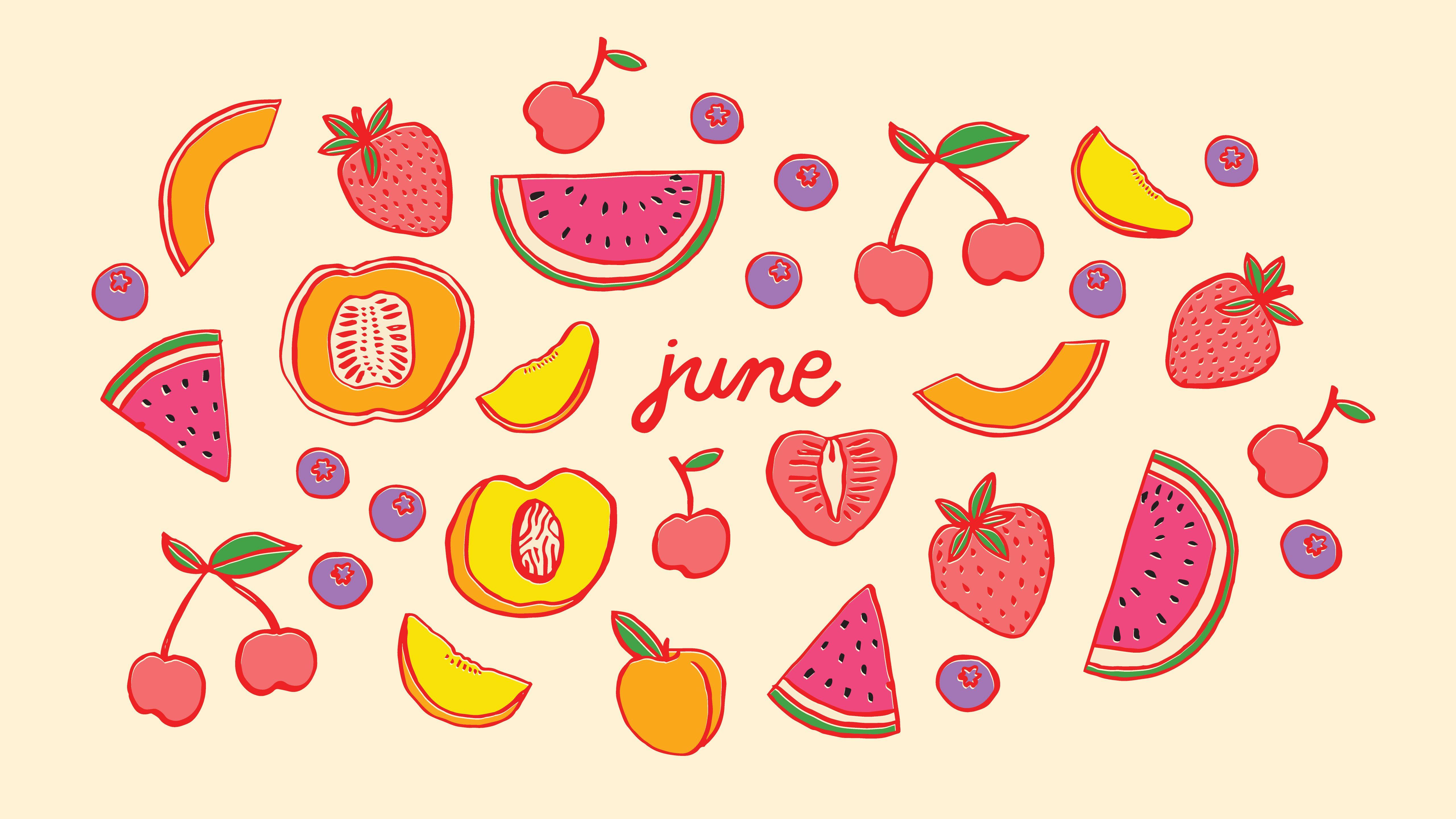 Summer Fruit Illustrated Wallpaper The Good Twin Osbp Desktop Jpg 5120 2880 Laptop Wallpaper Calendar Wallpaper Wallpaper