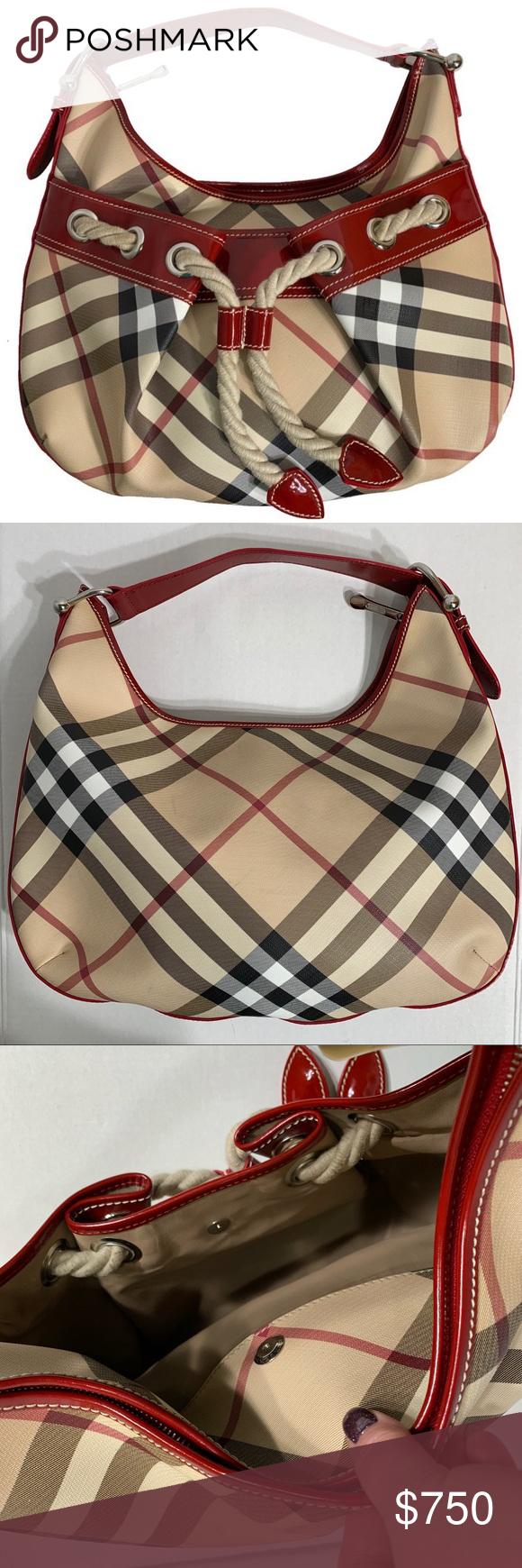 Burberry Large Nova Check Hobo Shoulder Bag Burberry Nova Check hobo style  shoulder bag. Red d274d21a90